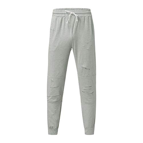 Price comparison product image ANJUNIE Men's Active Basic Jogger Pants Patchwork Printed Trousers Casual Holes Sweatpants(Gray,L)