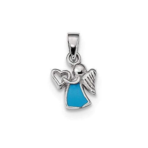 Pendant Angel Enameled (925 Sterling Silver Enameled Angel Heart Pendant Charm Necklace Religious Fine Jewelry For Women Gift Set)