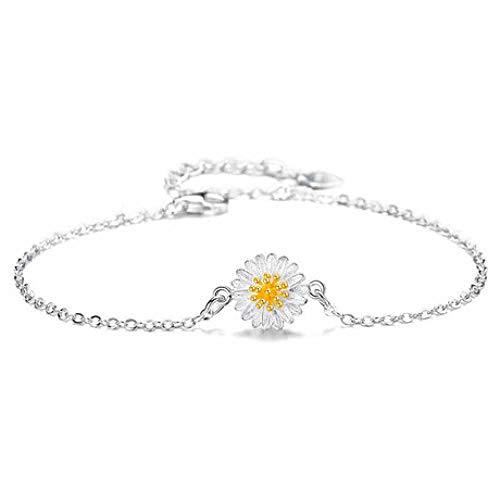 - Weiduoli Bracelet 925 Sterling Silver Small Daisy Crystal Bracelet Ladies Adjustable Bracelet Jewelry Gift