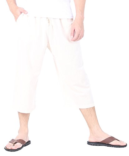 (CandyHusky Men's Elastic Waist Cotton Loose Comfort Casual Lounge Capri Pants (3XL/4XL, Cream Beige))
