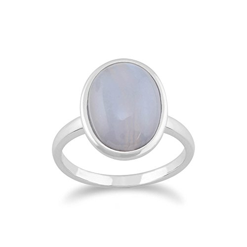 Gemondo Blue Lace Agate Ring, 925 Sterling Silver 3.00ct Blue Lace Agate Oval ()