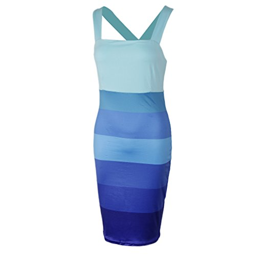 Noche Media Pierna Vestido de Baoblaze Azul Club Ropa Poliéster A Ajustado Cóctel Estampado Diseño zqBxfwWxUg