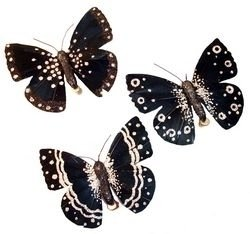 Touch of Nature 23263 Feather/Glitter Butterfly, 4-1/2-Inch, Black/Siver