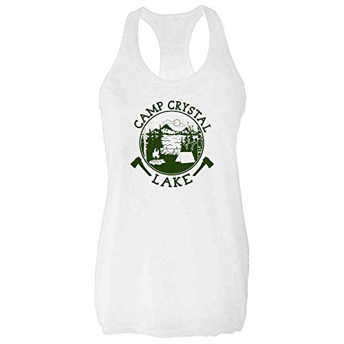 Pop Threads Camp Crystal Lake Counselor Shirt Costume Staff White M Womens Tank -