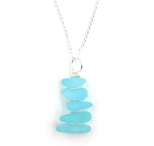 Gorgeous Sea Pebble Stacked Sea Foam Blue Sea Glass Pendant Necklace on 18 inch Sterling Silver Chain, by Aimee Tresor