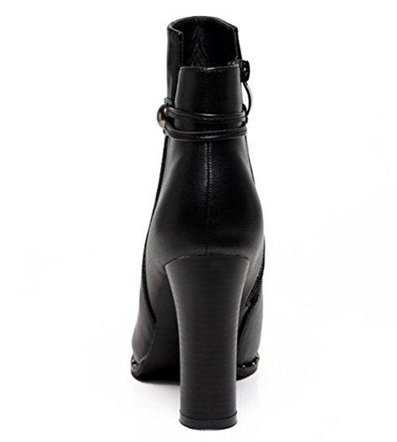 KUKI Herbst und Winter Frauen Stiefel High-Heels Stiefel dick dick mit dem Martin Stiefel billig Damen Stiefel leichte atmungsaktive Freizeitschuhe black