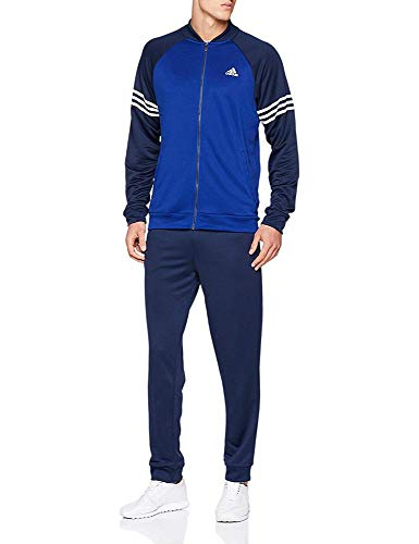 adidas Mens Tracksuit Athletic Performance Poly Jog Suit Track Top Pants Cuffed Navy Blue D94484 New (XXL 48/50)