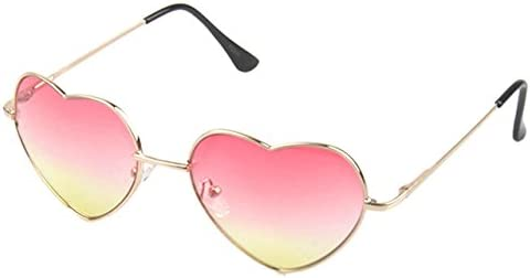 8d9d2e7cb2 Pink   Metal Heart Shaped Sunglasses Reflective Mirror Lens Fashion Luxury  Sun Glasses Brand Designer For Ladies Massage Braces Support  Amazon.in   Beauty