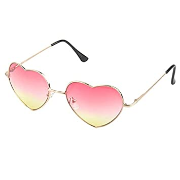 ee763480c8388 Generic Pink Heart Shaped Sunglasses Women Metal Reflective Mirror Lens  Fashion Luxury Sun Glasses Brand Designer For Ladies  Amazon.in  Beauty