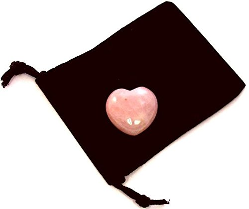 Zentron Crystal Collection: Rose Quartz 30MM All Natural Polished Pocket Gemstone Crystal Puff Heart and Velvet Pouch (Gemstone Puff Heart)
