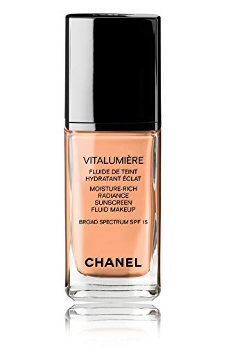 VITALUMIÈRE Moisture-Rich Radiance Sunscreen Fluid Makeup Broad Spectrum SPF 15 Color: 51 Tawny Beige ()