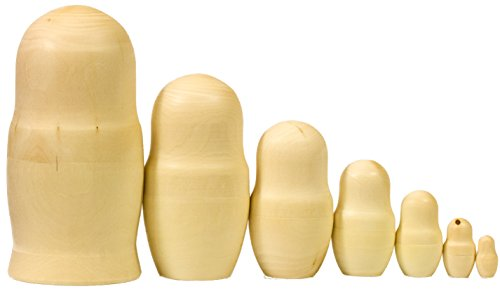 Vintage 8' Doll - Lot of 10 UnPainted Blank Wooden Nesting dolls BIG SIZE 8`` (7 dolls in 1)