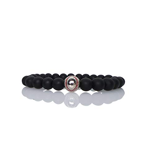 The Belcher's 8MM Baseball Strand Bracelet Natural Mattee Lava Stone White Turquoise Stone Beaded Stretch Elastic Rope Bangles for Men Boy Unix Couple Sport Jewelry-Matte Silver