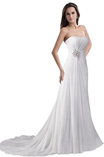 GEORGE BRIDE Simple Strapless Chiffon Over Satin Beach Wedding Dress Size 16 White