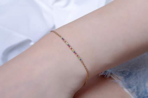 Rainbow bar bracelet, Dainty sapphire bracelet, Multi color bracelet, Bar bracelet, Delicate bracelet, bracelet, Diamond bracelet 2,5 cm