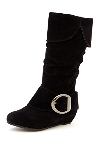 Simply Petals Girl's Suede Fold-Over Slouchy Buckle Boot with Zip-Up Side in Black Size: - Kids Boots Designer