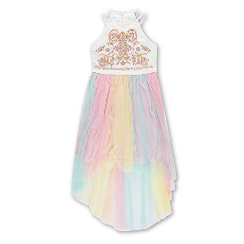 Speechless Girls' Big Long Pleated Dress, White Pink 14 ()