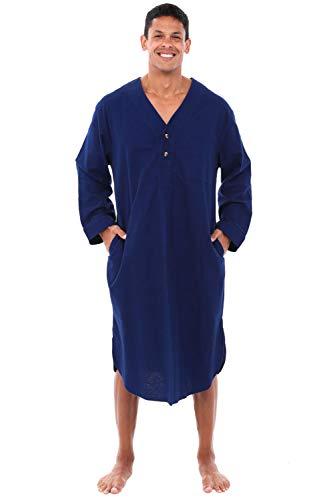 Alexander Del Rossa Mens Flannel Nightshirt, 100% Cotton Long Sleep Shirt, Medium Midnight Blue ()
