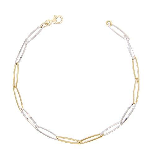Bracelet Femme Or Véritalbe - Bicolore Jaune et Blanc