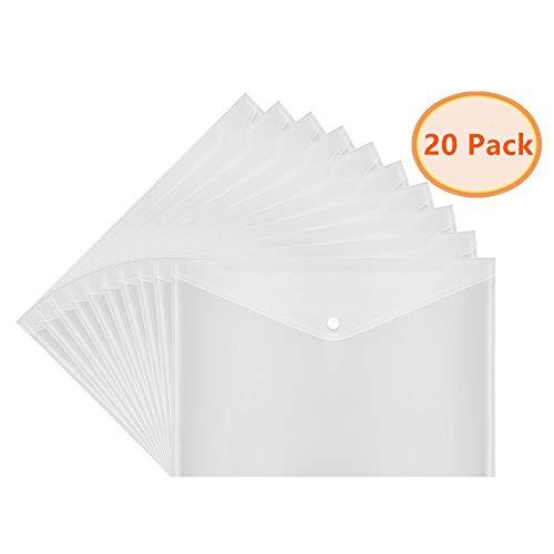 Velcro Closure Envelope (A4 Size Premium Translucent Document Folders 20pcs PVC Envelope with Snap Button Closure - Water & Tear Resistant, White)