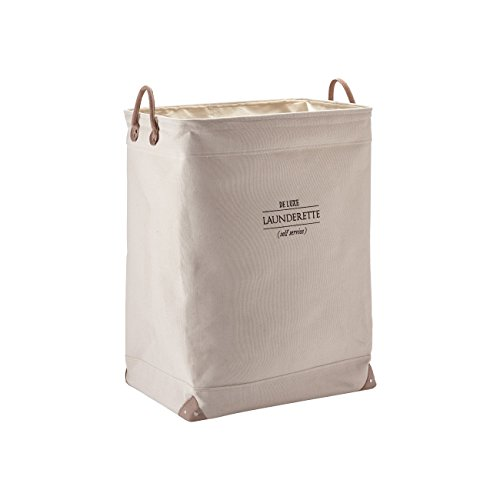 Nova Bath Collection Lubin Hamper Laundry Basket with Carry Handles and Removable Washable Liner (Beige)