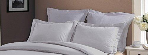 Pillow Shams Set of 2 - Luxury 500 Thread Count 100% Egyptian Cotton Cushion Cover Euro Size Decorative Tailored Poplin European Pillow Sham (Silver Grey Solid, Big Euro/Square (28 x (Cotton Egyptian Cotton Decorative Pillow)