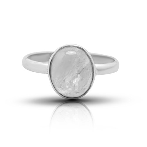 Moonstone Oval Stone Ring 925 Sterling Silver Vintage Tribal Gipsy Boho Look US Size 5 6 7 8 9 10 (5)