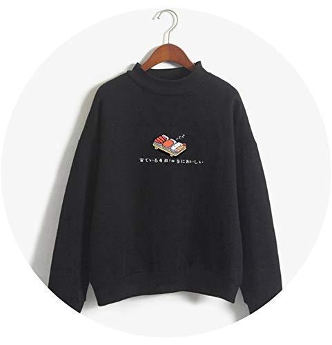 (Women Hoodies Sweatshirts 2019 Crtoon Kawaii Sushi Pullover Tops Fe Loose Tracksuit Coat,YL06black,XL)