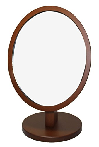 Adjustable Classic Dark Brown Wooden Frame Vanity Bathroom Makeup Mirror - Fixed Stand, Oval
