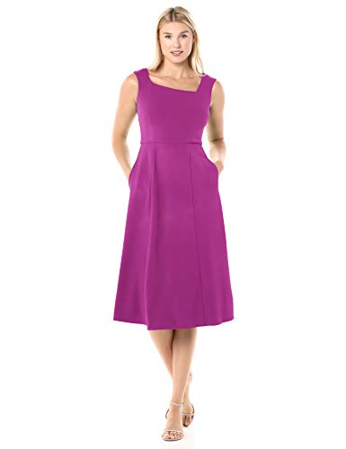 Donna Morgan Women's Stretch Crepe Asymmetric Neckline Fit and Flare Dress, Orchid, 6