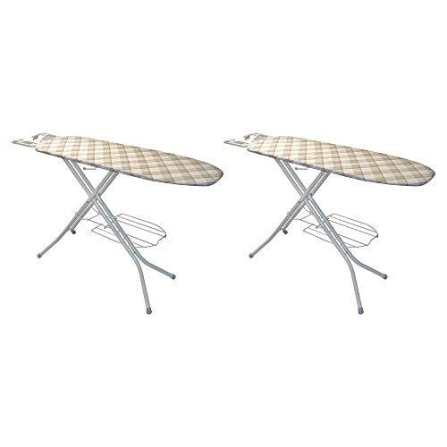Polder 48 Inch Non Skid Steel Framed Ironing Board with Shelf and Iron Rest (2 Pack)