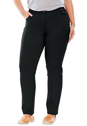 Back Yoke Denim Jean - Woman Within Plus Size Straight Leg Stretch Jean - Black Denim, 16 W