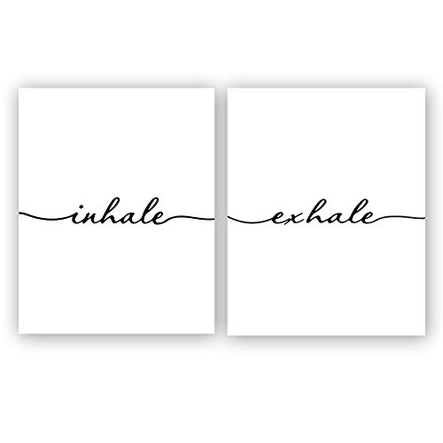 "Inhale Exhale Art Print Set of 2 (10""X8"", Meditation Art Print, Black and White Yoga Wall Art Prints,Modern Zen Print, Canvas Wall Art Poster for Bedroom Home Decor, No - Art Warehouse Posters"