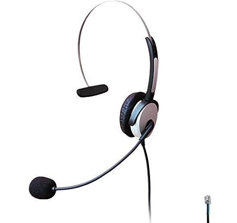 Voistek Mono Over the Head Call Center Handsfree Telephone RJ Headset with Flexible Noise Cancelling Microphone for Snom Intertel NEC Ge Office Landline Desk Phones (H10D)