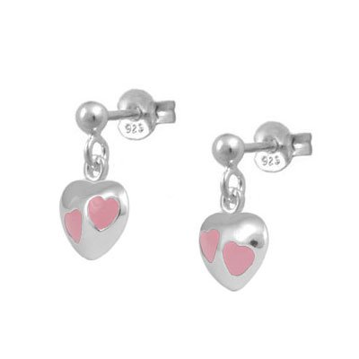 Girls Sterling Silver Pink Enameled Dangling Heart Earrings