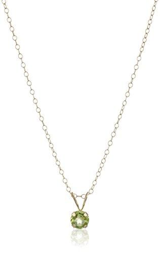 Girl's 14k Yellow Gold Peridot Birthstone Pendant Necklace, 15