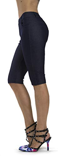 Prolific Health Women's Jean Look Jeggings Tights Yoga Many Colors Spandex Leggings Pants S-XXL (Medium, Navy Blue Bermuda)
