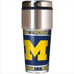 Michigan Wolverines Ncaa Tumbler - NCAA Michigan Wolverines 16 oz Travel Tumbler with Metallic Wrap