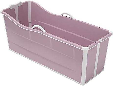 アダルト折りたたみバスタブ家庭用入浴バレルポータブルバースバケツ折りたたみ大太いバスタブ全身お風呂,Pink without lid