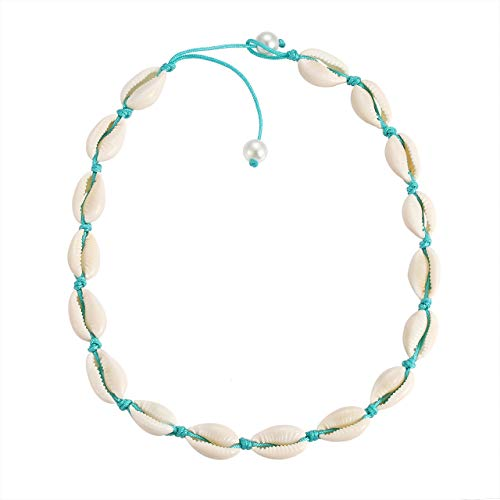 HSWE Shell Choker Necklace for Women Sea Shell Necklace Adjustable Gilded Beaded Cord Rope Hemp Bib Collar Necklace Handmade Hawaiian Beach Summer Jewelry (White#4)