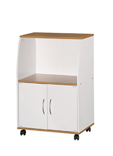 Hodedah Import HIK74 WHITE Microwave Cart, White
