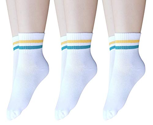 AM Landen Super Cute 3 pairs White with Green Yellow stripes Women's Unisex Striped Ankle Socks Crew Socks