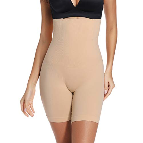 Tummy Control Shapewear Shorts Women High Waist Body Shaper Thigh Slimmer Slip Short Panty (Beige#Firm Control, L) ()