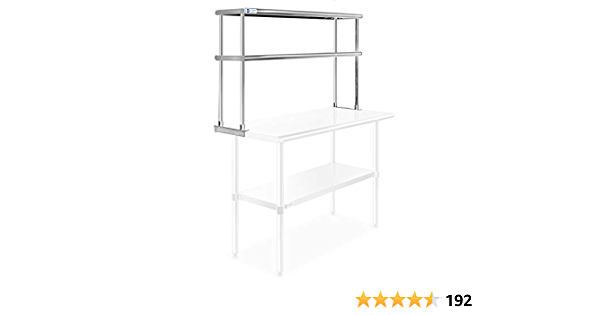 NSF KPS Stainless Steel Double Overshelf for Prep Work Table 14 x 36 Top Mount
