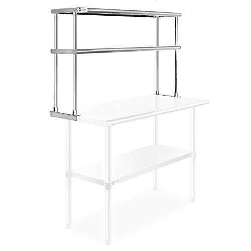 Gridmann NSF - Mesa de trabajo de acero inoxidable para cocina, 2 niveles, doble estante - 121,92 cm x 30 cm.