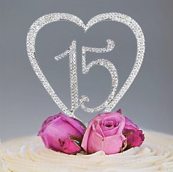 15 Quinceanera Decorations Cake Topper Birthday Rhinestone Heart Number Monogram - Happy 15th Fifteenth Anniversary Bling - Vow Renewal - LIMITED EDITION - SILVER