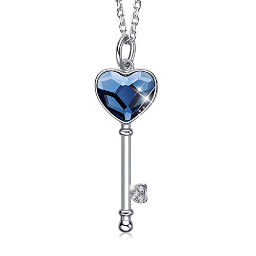 CDE Key to My Heart Pendant Necklace Sterling Silver Embellished with Crystals from Swarovski Women Necklaces Jewelry Gift for Mothers Day
