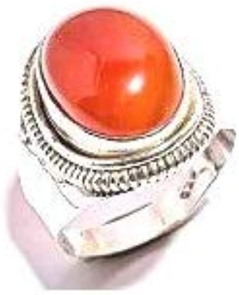 Size 9.25 U.S mughal gems /& jewellery 925 Sterling Silver Ring Natural Carnelian Gemstone Fine Jewelry Ring for Women /& Girls
