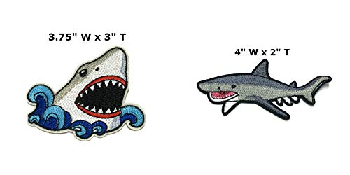 Great White Shark and Tiger Shark Embroidered Patch Iron or Sew-on 2 PC Ocean Series Sharks Whales Meg Turtles Dolphins Marine Biology Emblem Badge Appliques -