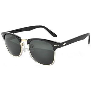 Half Frame Sunglasses Black Gold Metal Frame with Green Lens Retro